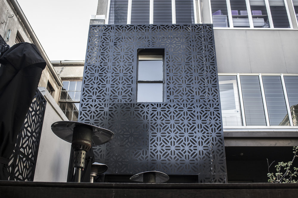 Laser cut external building facade