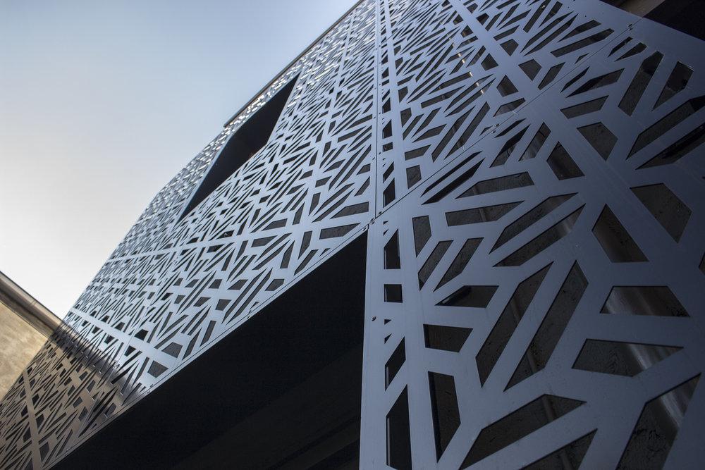 Laser cut building facade.